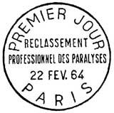 Oblitération 1er jour à Paris le 22 février 1964