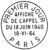 Oblitération 1er jour à Paris le 18 juin 1964