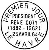 Oblitération 1er jour à Le Havre le 25 avril 1964