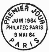 Oblitération 1er jour à Paris le 9 mai 1964