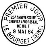 Oblitération 1er jour à Le Bourget le 9 mai 1964