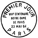 Oblitération 1er jour à Paris le 23 mai 1964