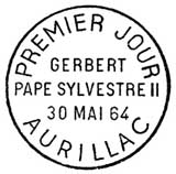 Oblitération 1er jour à Aurillac le 30 mai 1964