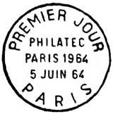 Oblitération 1er jour à Paris le 6 juin 1964
