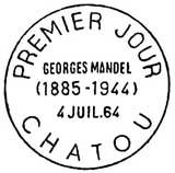 Oblitération 1er jour à Chatou le 4 juillet 1964