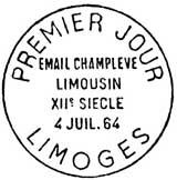 Oblitération 1er jour à Limoges le 4 juillet 1964