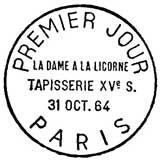 Oblitération 1er jour à Paris le 31 octobre 1964