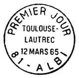 Oblitération 1er jour à Albi le 12 mars 1965