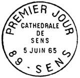 Oblitération 1er jour à Sens le 5 juin 1965