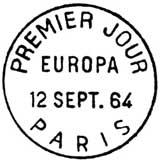 Oblitération 1er jour à Paris le 12 septembre 1964