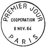 Oblitération 1er jour à Paris le 6 novembre 1964