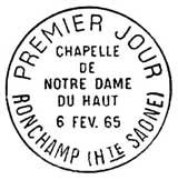 Oblitération 1er jour à Ronchamp le 6 février 1965