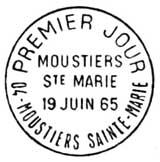 Oblitération 1er jour à Moustier le 19 juin 1965