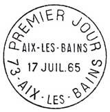 Oblitération 1er jour à Aix-les-Bains le 17 juillet 1965