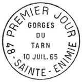 Oblitération 1er jour à Sainte-Enimie le 10 juillet 1965