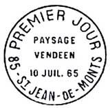 Oblitération 1er jour à Saint-Jean-de-Monts le 10 juillet 1965