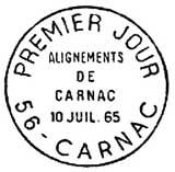 Oblitération 1er jour à Carnac le 10 juillet 1965