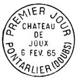 Oblitération 1er jour à Pontarlier le 6 février 1965
