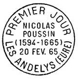 Oblitération 1er jour à Les Andelys le 20 février 1965