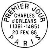 Oblitération 1er jour à Paris et Blois le 20 février 1965