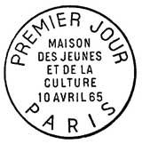 Oblitération 1er jour à Paris le 10 avril 1965