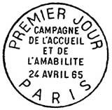 Oblitération 1er jour à Paris le 24 avril 1965