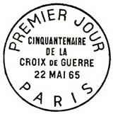 Oblitération 1er jour à Paris le 22 mai 1965