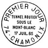 Oblitération 1er jour à Chamonix le 17 juillet 1965