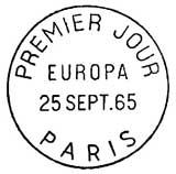 Oblitération 1er jour à Paris et Strasbourg le 25 septembre 1965