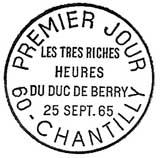 Oblitération 1er jour à Chantilly le 25 septembre 1965