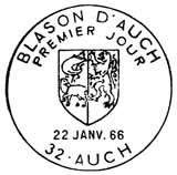 Oblitération 1er jour à Auch le 22 janvier 1966