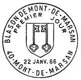 Oblitération 1er jour à Mont de Marsan le 22 janvier 1966