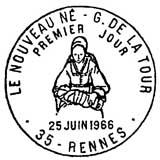 Oblitération 1er jour à Rennes 25 juin 1966