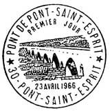Oblitération 1er jour à Pont-Saint-Esprit 23 avril 1966
