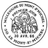 Oblitération 1er jour à Mont-Saint-Michel 30 avril 1966