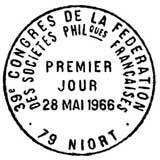 Oblitération 1er jour à Niort 28 mai 1966