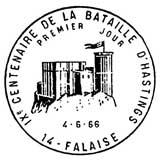 Oblitération 1er jour à Falaise et Bayeux 6 juin 1966