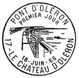 Oblitération 1er jour à Château d'Oléron 18 juin 1966