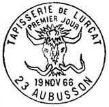 Oblitération 1er jour à Aubusson le 19 novembre 1966