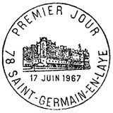 Oblitération 1er jour à Saint-Germain-en-Laye le 17 juin 1967