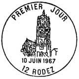 Oblitération 1er jour à Rodez le 10 juin 1967