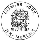 Oblitération 1er jour à Morlaix le 10 juin 1967