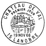 Oblitération 1er jour à Lanobre le 19 novembre 1966