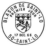 Oblitération 1er jour à Saint-Lô le 17 décembre 1966