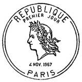 Oblitération 1er jour à Paris le 4 novembre 1967