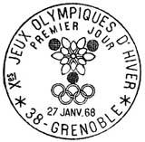 Oblitération 1er jour à Grenoble le 25 janvier 1968