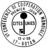 Oblitération 1er jour à Royan le 13 avril 1968