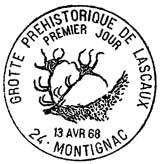 Oblitération 1er jour à Montignac le 13 avril 1968