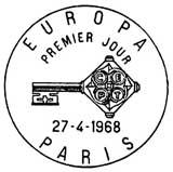 Oblitération 1er jour à Paris et Strasbourg le 27 avril 1968