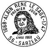 Oblitération 1er jour à Sarzeau le 4 mai 1968